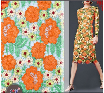 Hot Sale the most popular 3d flower lace embroidered dresses of net multi color guipure lace fabric